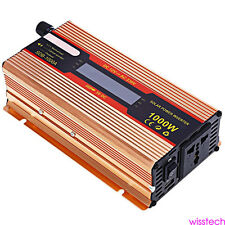 Pure Sine Wave Inverter 1000W Car Power Inverter 12V DC to 110V AC 2 US outlets