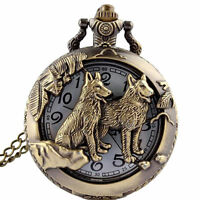 Vintage Bronze Hollow Dog Theme Pocket Watch Quartz Chain Necklace Pendant  Gift