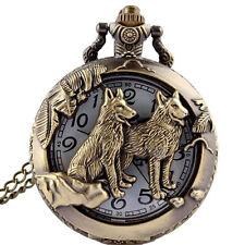 Vintage Bronze Hollow Dog Theme Pocket Watch Quartz Chain Necklace Pendant  Gift