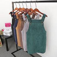 Women's Autumn Corduroy Straps Ladies Short Skirt Pocket Straight Vest Skirt