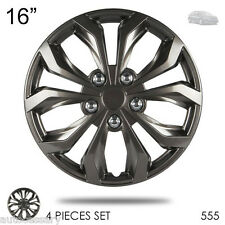 "New 16"" Hubcaps ABS Gunmetal Finish Performance Wheel Covers Set For Kia 555"