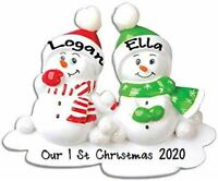 Personalized SNOWMAN OUR 1ST CHRISTMAS Hanging Tree Ornament HOLIDAY GIFT 2020