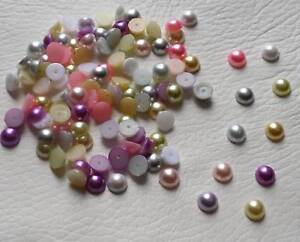 7mm Flat Back Pearls, Embellishments, Mixed, Various Colours, Half Round