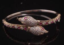 925 Sterling Silver Handmade Gemstone Turkish Ruby Ladies Bracelet Cuff