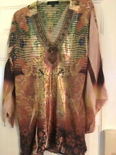 B.L.E.U. sheer tunic with beads and sequins; Bling!.Asymmetrical Hem Poly 1X Euc