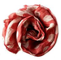 """Doubleface Dots Schal aus 100% Leinen """"Stonewashed"""" (47x200 cm), Rosa-rot"""