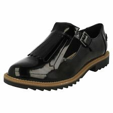 Ladies Clarks Buckle Fastened Fringe Flat Shoes Griffin Mia Black Patent 4.5 UK D