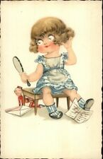 Cute Little Girl w/ Hand Held Mirror Checking Hair c1920s Postcard