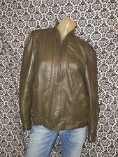 Winlit Green Gray Leather Biker Racer Zip Front Jacket Coat Womens SMALL USED