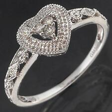 Romantic Solid 9k WHITE GOLD PATTERNED & LOVE HEART 3 DIAMOND RING Sz P1/2