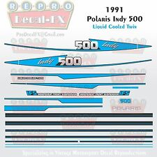 1991 Indy 500 Polaris Graphics Reproduction 23 Pc Decal Snowmobile Kit Vintage