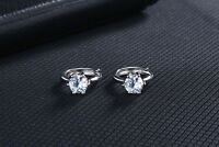 Shiny 925 Sterling Silver PL 6mm Cubic Zirconia CZ Huggie Loop Hoop Earrings