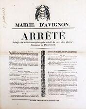 ARRÊTE du PREFET du VAUCLUSE contre l'ENTERITE PORCINE Affiche orig. ent. 1823