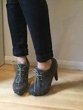 Aldo Brown Women Ankle Boots With Heels Size 36 Lace Up