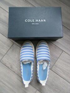 COLE HAAN WOMENS ELLA GRAND ESPADRILLE IN BLUE/IVORY STRIPE, NIB $130, 6.5 B