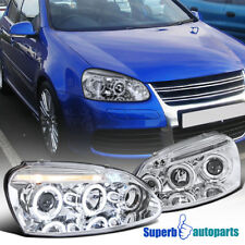 For 06-08 VW Golf Rabbit Jetta Halo LED Projector Headlight Chrome SpecD Tuning