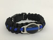 THE BLUE LINE Paracord EDC Survival Morale Bracelet Police Law Enforcement