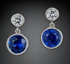 Solid Dangle Earrings Cocktail 925 Sterling Silver Blue White Round Beautiful CZ