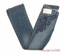 P605/05 BNWT Zara Women's Blue Emblodeiry Jeans, size UK 8 Euro 36 Length 34in
