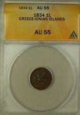 1834 Greece-Ionian Islands 1 Lepta Bronze Coin ANACS AU-55