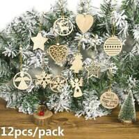 12Pcs Wood Christmas Snowflake/Star/Angel Ornaments Hanging Xmas Tree Decors