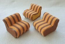 Bodo Hennig Wohnzimmer Sessel Tisch orange braun 70er Jahre Möbel Puppenstube