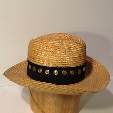 Straw Hat Saks Fifth Avenue Made in Italy100% Pagilia Straw