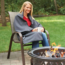 The Cordless Rechargeable Heated Heat Throw Blanket Charcoal Outdoor Wrap