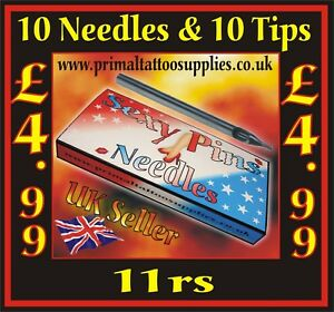 10 Sexy Pins Tattoo Needles 11 round shader + 10 Disposable Long tips 11 round