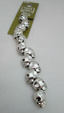 Halcraft 12 Silver Plated 10mm by 12mm Skull Beads