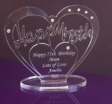 Personalised 75th Birthday Gift Heart with message -  Free Standing Keepsake
