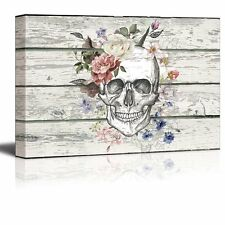"""wall26 - Canvas Prints Wall Art - Skull/Skeleton with Flowers- 24"""" x 36"""""""