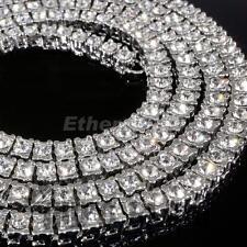 "1 Row Iced Clear Crystal Rhinestone Chain Mens Hip Hop Rock Necklace 30"""
