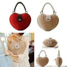 Heart Shape Weaving Design Patchwork Straw Ladies Women's Tote Bag Handbag Purse