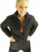 New English Ladies Black Quilted Fitted Riding Jacket 6 8 10 12 14 16 18
