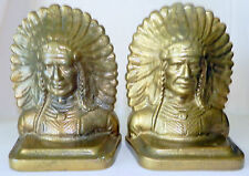 "VTG. BRASS Bronze INDIAN HEADDRESS Bookends SIGNED ""CAST AT AMC"" AMERICAN Metal"