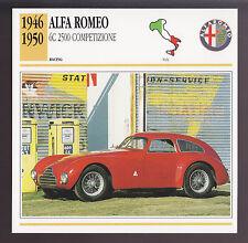 1946-1950 Alfa Romeo 6C 2500 Competizione Car Photo Spec CARD 1947 1948 1949
