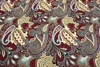 "Upholstery Drapery Matelasse 100% Cotton Red Paisley Woven Fabric 55""W"