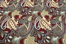"Upholstery Drapery Matelasse 100% Cotton Red Paisley Woven Fabric 55""W"