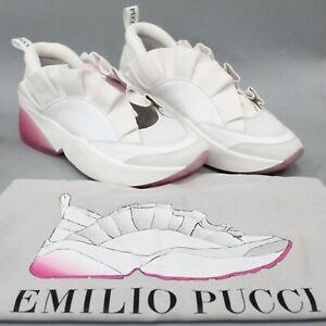 Emilio Pucci NWOB Jungle Joy White Pink Ruffled Slip On Sneakers Size 39 Italy