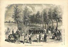 Evacuation Parade Soldats Armée Prussiens Bataillon Allemagne GRAVURE PRINT 1873