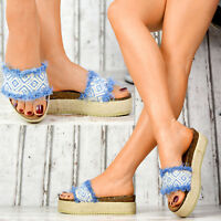 NEU Plateau Damen Sandalen Jeans-Look Korkoptik Sommer Freizeitschuhe Fransen