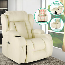 Extra Wide Back Leather Massage Recliner Chair Heated Vibrate 360° Swivel White
