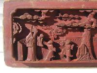 """Chine*Sculpture bois vers 1880""""Lao Tse-Maîtres Enfants""""Laque Rouge Sang de Boeuf"""