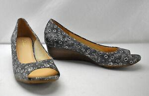 Cole Haan Air Tallot Black White Lizard Print Peep Toe Wedge Shoes - Women's 8B