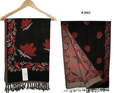 """Village Crafted Pashmina Shawl Stole Wrap Scarf Hand Woven 78""""X28"""" Black 3643"""