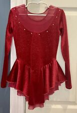 Chole Noel Red glittery ice skating dress with gem stones Youth Small