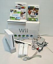 NINTENDO WII VIDEO GAME CONSOLE SYSTEM + 3 GAMES 2 CONTROLLERS POWER CORD CONNEC