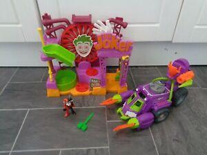 batman imaginext bundle-jokers funhouse+scorpion battle tank+harley quinn figure