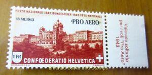 "EBS Switzerland 1943 - ""Pro Aero"" - Michel 422 MNH** - with Italian Tab"